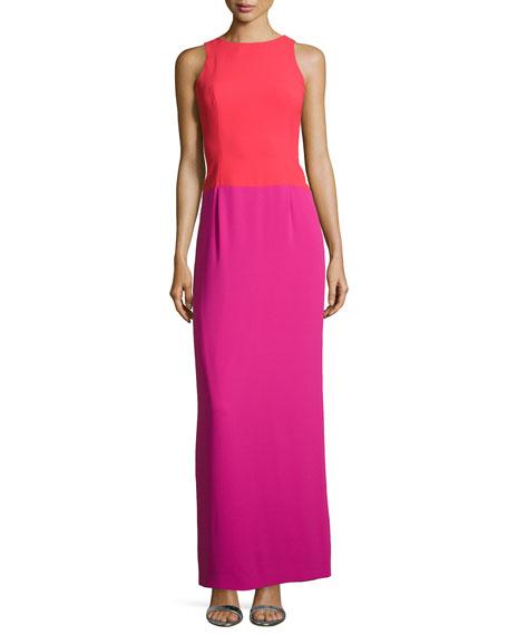 Sleeveless Colorblock Column Gown