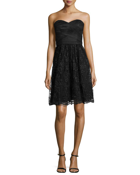 Strapless Cocktail Dress with Lace Skirt