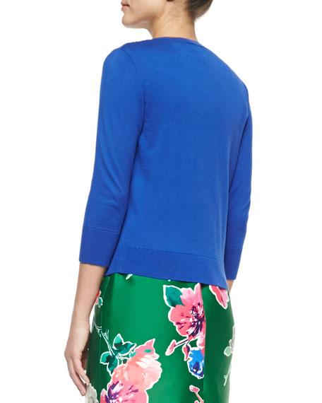3/4-sleeve beaded cotton cardigan