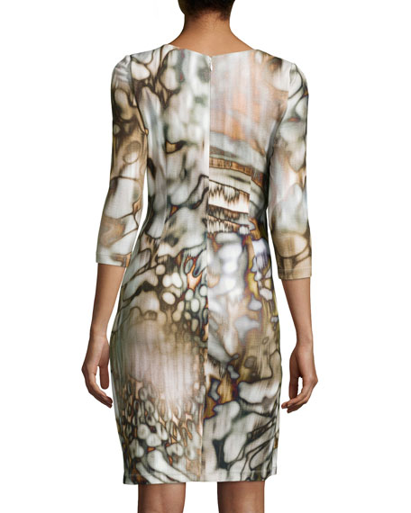 Faux Wrap Abstract Print Jersey Dress