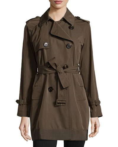 Delmas Pleated Trench Coat, Olive