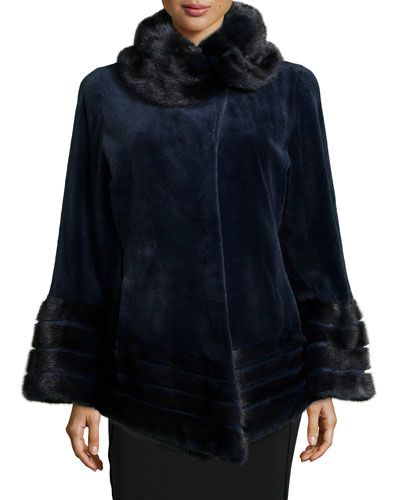 Sheared Mink Fur Jacket, Navy