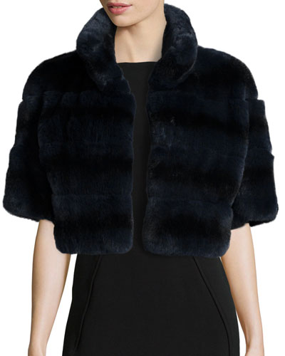 Horizontal Rabbit Fur Jacket, Dark Gray