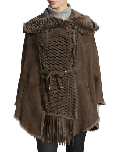Hooded Perforated Lamb Shearling Fur Cape, Falco
