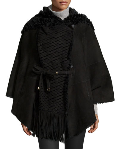 Hooded Perforated Lamb Shearling Fur Cape, Nero