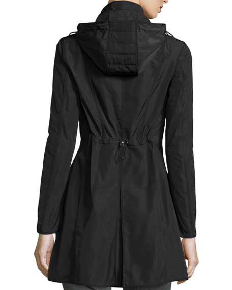 Argiela Hooded Smocked Coat, Black
