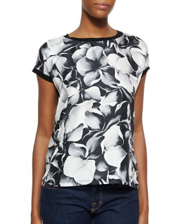 Solid/Floral-Print Combo Top