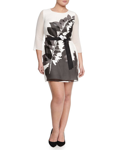 Fastoso Floral-Print Belted Tunic/Dress, Women's