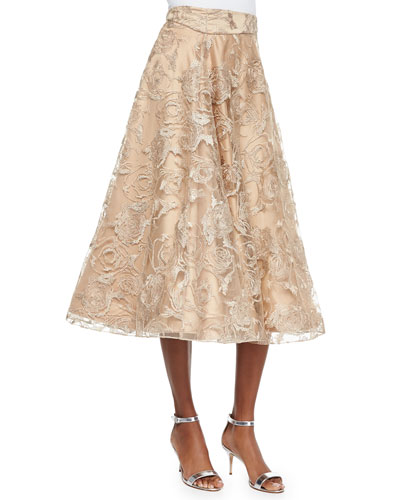 Lace Tea-Length Ball Skirt, Tan