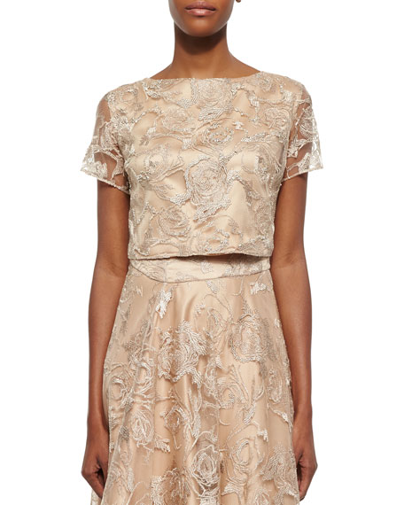 Kay Unger New YorkShort-Sleeve Lace Cropped Top, Tan
