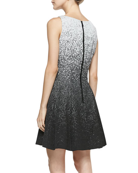 Sleeveless Pixel-Print Fit-and-Flare Dress
