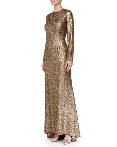 Long-Sleeve Beaded Jacquard Gown, Burnished Gold/Nude