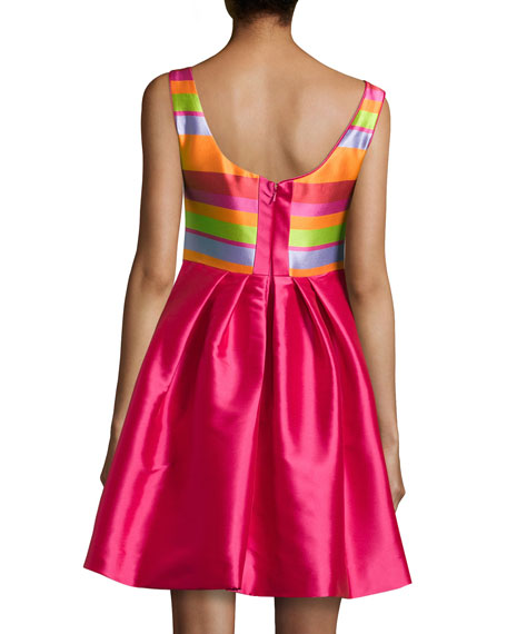 Satin Party Dress with Striped Bodice