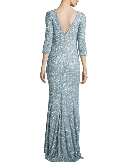 3/4-Sleeve V-Neck Sequined Gown, Cloud Blue