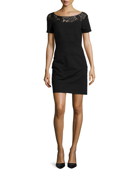 Short-Sleeve Knit Dress with Lace Neckline
