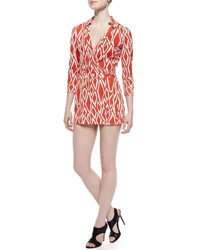 Celeste Ikat-Print Skort Jumpsuit