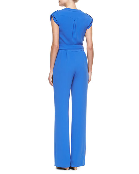 Diane von Furstenberg Riviera Wrap-Front Jumpsuit with Self-Tie