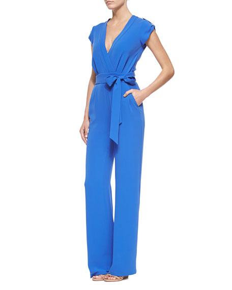 Diane von Furstenberg Riviera Wrap-Front Jumpsuit with Self-Tie