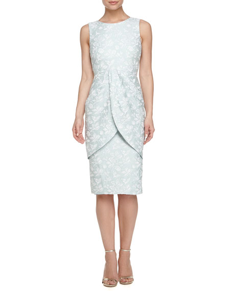 Badgley Mischka Sleeveless Jacquard Overlay Sheath Dress, Mint