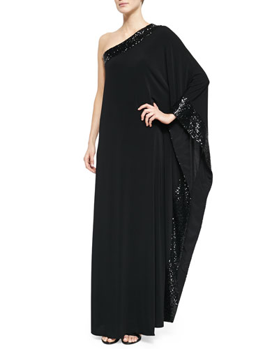 Sage One-Shoulder Sequin-Trim Gown