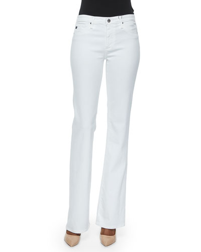 Angel Mid-Rise Boot-Cut Jeans, White