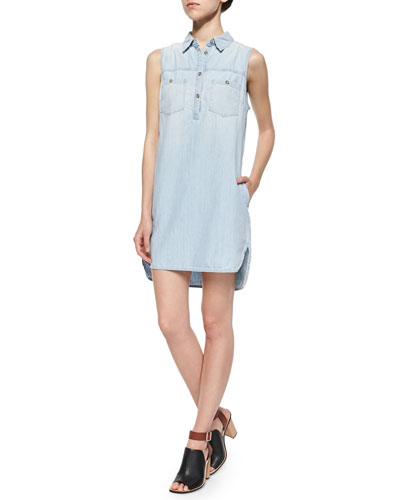 Aurelia Sleeveless Light Chambray Dress