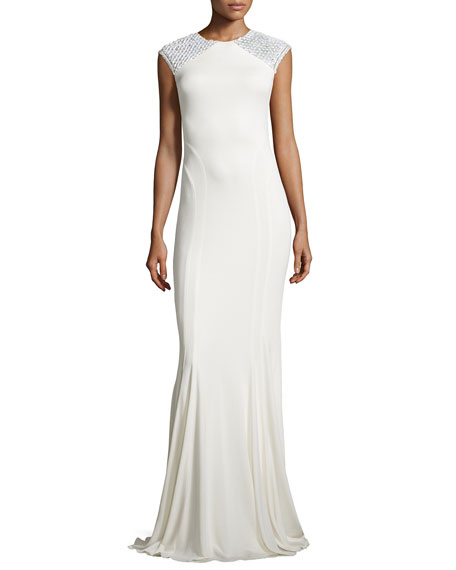 Badgley Mischka Cap-Sleeve Fishtail Gown