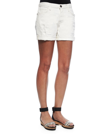The Slouchy Cutoff Shorts, White