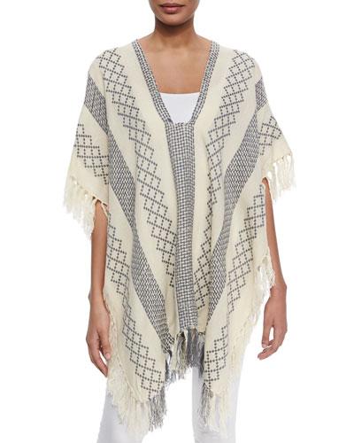 Weave-Pattern Tassel-Trim Poncho