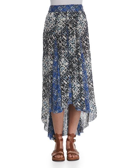 Printed High-Low Maxi Skirt
