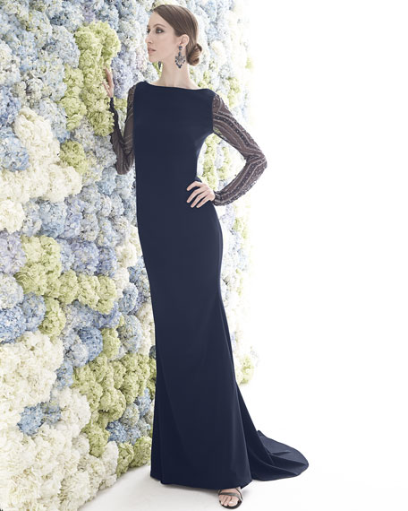 Beaded-Long-Sleeve Gown