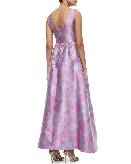 Sleeveless Floral Bow-Belt Gown