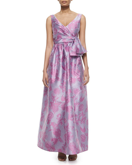 Badgley Mischka Sleeveless Floral Bow-Belt Gown