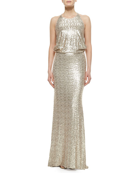 Badgley Mischka Sleeveless Sequined Draped-Back Column Gown