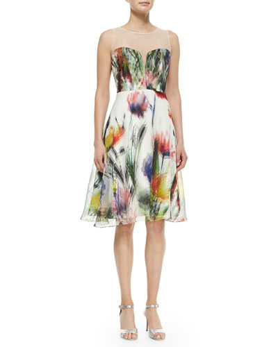 Sleeveless Illusion Floral-Print Dress