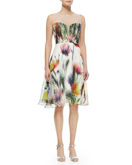 Badgley Mischka Sleeveless Illusion Floral-Print Dress