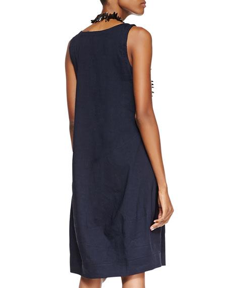 Sleeveless Linen-Stretch Lantern Dress, Navy, Plus Size