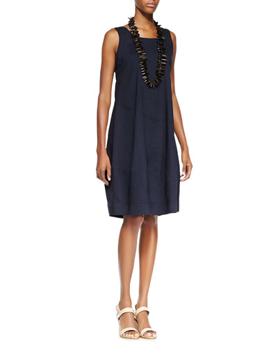Sleeveless Linen-Stretch Lantern Dress, Navy, Women's