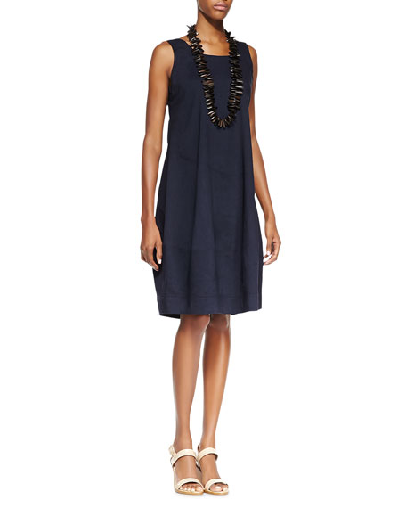 Eileen Fisher Sleeveless Linen-Stretch Lantern Dress, Navy, Plus