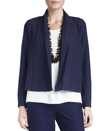 Washable-Stretch Crepe Short Jacket, Petite