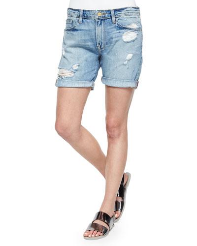 Le Grand Garcon Distressed Cuffed Shorts