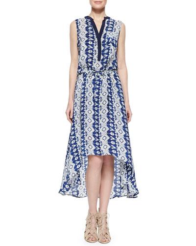 Lydia Printed High-Low Dress, Indigo