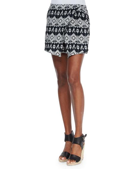 Tolani Camille Silk Ikat-Print Skort, Black Ikat