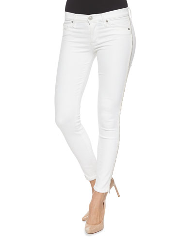 Luna Metallic-Fringe Ankle Pants, White