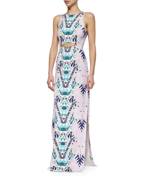 Mara Hoffman Mixed-Print Cutout Maxi Dress