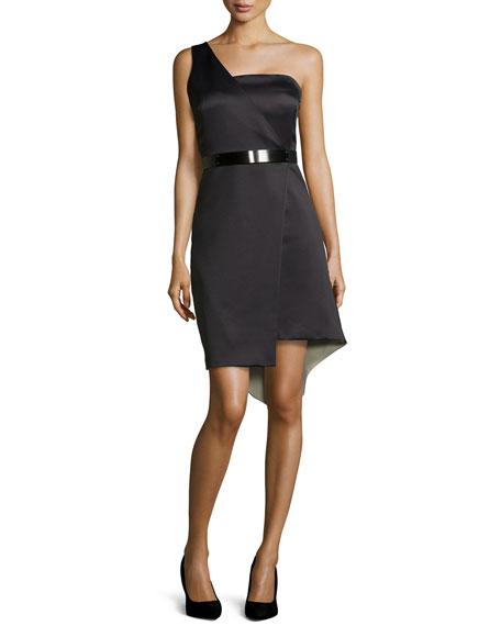 Halston HeritageOne-Shoulder Asymmetric Belted Cocktail Dress