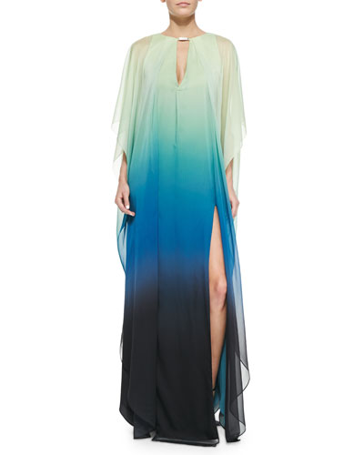 V-Neck Ombre Caftan with Sheer Overlay