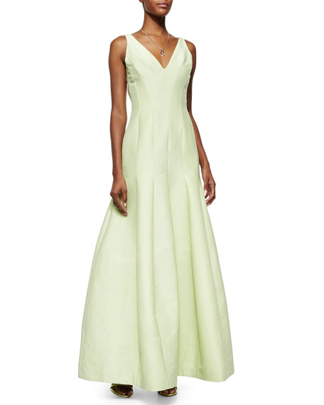 Halston Heritage Sleeveless V-Neck Mermaid Gown, Pistachio