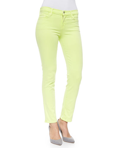 Rail Mid-Rise Cropped Skinny Jeans, Lime Sherbet