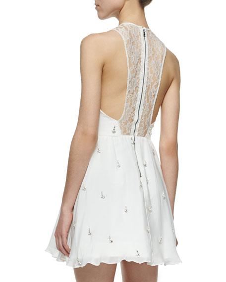 Gilda Embellished Lace-Back Dress, Off White